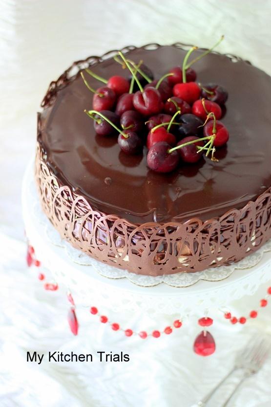 Chocoate Cake With A Chocolate Mirror Glaze